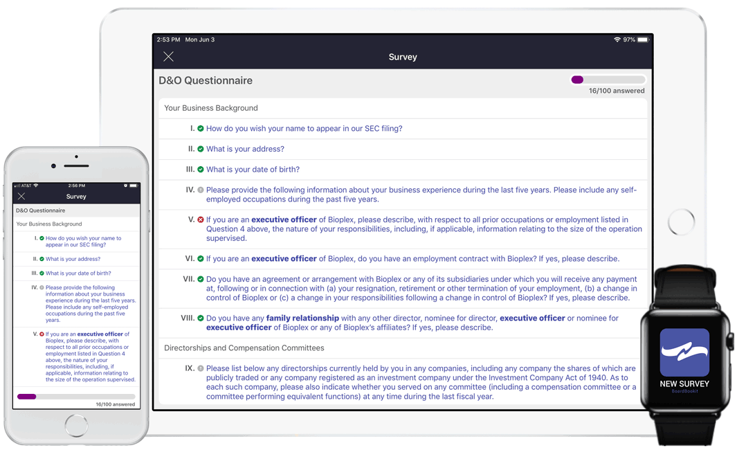 D&O Questionnaires On Any Device